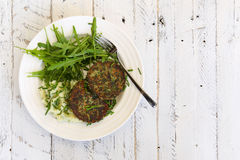 Swiss Chard Veggie Fritters with Mash Potatoes and Rocket Leaves Stock Photos