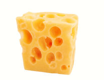 Swiss cheese. On a white background Royalty Free Stock Photo