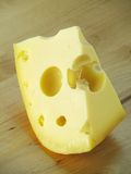 Swiss Cheese. A peace of swiss cheese on white Royalty Free Stock Photography