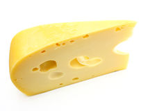 Swiss cheese. A piece of Swiss cheese isolated on white yellow delicatessen Royalty Free Stock Photo