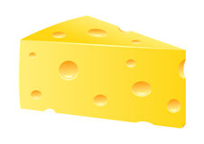 Swiss cheese. Isolated on white Royalty Free Stock Photo