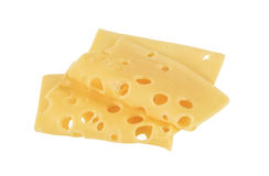 Swiss cheese. Thin slices of Swiss cheese Royalty Free Stock Photo