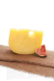 Swiss cheese background. Royalty Free Stock Image