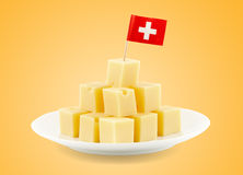 Swiss cheese cubes Stock Photos
