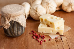 Swiss cheese with garlic and anchovy Stock Photo