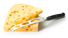 Swiss cheese and knife Royalty Free Stock Photos