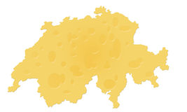Swiss cheese map of Switzerland. This map of Switzerland represents what the Swiss are famous for - Swiss cheese Stock Photos