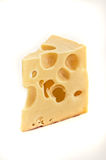 Swiss Cheese Over White Stock Image