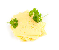 Swiss cheese slices Stock Photos
