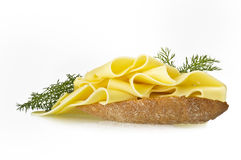 Swiss cheese slices. Close up on the white Stock Image