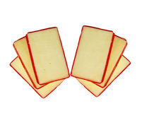 Swiss cheese slices. Swiss cheese isolated on white background Royalty Free Stock Photos