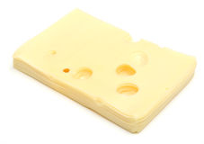 Swiss Cheese Slices. Slices of Swiss cheese on white Royalty Free Stock Photography