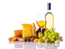 Swiss Cheese and White Wine Stock Image