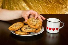 Swiss chocolate chips cookies arranged on a table Stock Photos