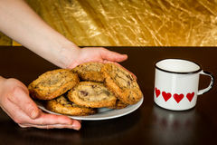Swiss chocolate chips cookies arranged on a table Royalty Free Stock Image