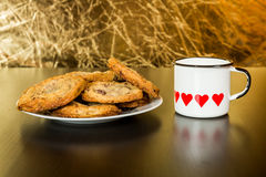 Swiss chocolate chips cookies arranged on a table Royalty Free Stock Photography