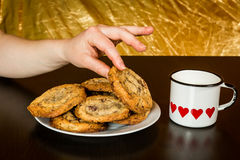 Swiss chocolate chips cookies arranged on a table Royalty Free Stock Photos