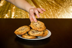 Swiss chocolate chips cookies arranged on a table Stock Image