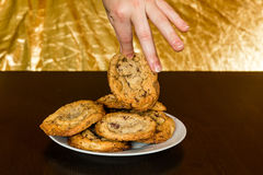 Swiss chocolate chips cookies arranged on a table Royalty Free Stock Images