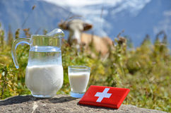 Swiss chocolate and jug of milk Royalty Free Stock Photography