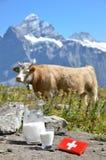 Swiss chocolate and jug of milk. On the Alpine meadow. Switzerland stock photography