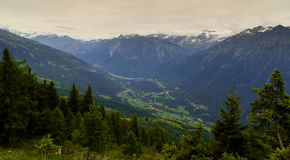 Swiss cities and villages in the Alpine mountains in Canton Tessin. Stock Photos