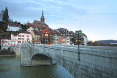 Swiss city Laufenburg. Old city Laufenburg, view from the bridge to the old town stock photos