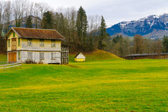 Swiss countryside, in Appenzell. Typical houses and countryside, in Appenzell, Switzerland stock photo