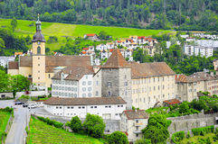 Swiss countryside and church by Chur. Stock Images
