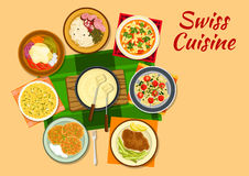 Swiss cuisine traditional dishes flat icon Royalty Free Stock Image