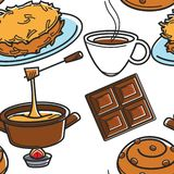 Swiss cuisine traditional food and drink seamless pattern. Traditional food and drink Swiss cuisine seamless pattern vector rosti and cheese fondue chocolate and stock illustration
