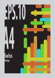 Swiss Design `s shape form colorful. With black background and gray frame Royalty Free Stock Images