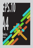 Swiss Design `s shape form colorful. With black background and gray frame Royalty Free Stock Photography