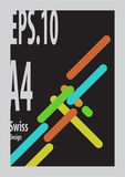Swiss Design `s shape form colorful. With black background and gray frame Stock Photo