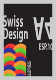 Swiss Design `s wave colorful. With black background and gray frame Stock Images