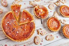 Swiss Easter Rice Tarts on a table stock image