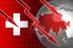 Swiss economy currency decline illustration with red down arrow Royalty Free Stock Image