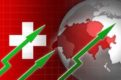 Swiss economy currency growth illustration with green up arrow Stock Photography