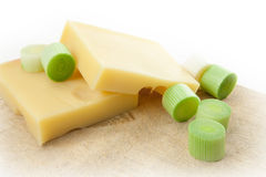 Swiss edam cheese on cheeseboard Stock Image