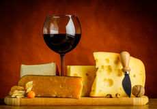 Swiss Emmental Cheese and Red Wine Stock Image