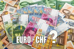 Swiss and EU bank notes Stock Image