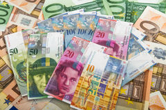 Swiss and EU bank notes Stock Images