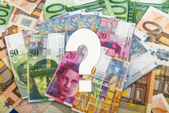 Swiss and EU bank notes Royalty Free Stock Photo