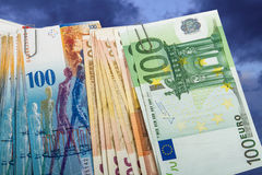 Swiss and EU bank notes Stock Photo