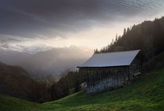 Swiss evening in Alps Royalty Free Stock Photos