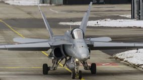Swiss F/A-18 Hornet. At Meiringen Stock Photos
