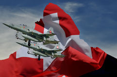Swiss fighters and swiss flag on matterhorn Royalty Free Stock Photos