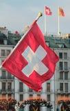 Swiss flag. In front of Geneva building, Switzerland Royalty Free Stock Photos