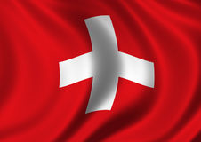Swiss Flag. Flag of Switzerland billowing in the Wind Royalty Free Stock Photo