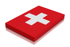 Swiss flag. 3d Render with reflection royalty free illustration